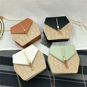 New Fashion Hexagon Multi Straw Bag Women Summer Rattan Bags Hand Woven Beach Bag Leather Shoulder Bag For Women Messenger Bag dcos ins new ladies hand woven bag round rattan retro literary hand woven leather buckle package bohemia beach messenger bag