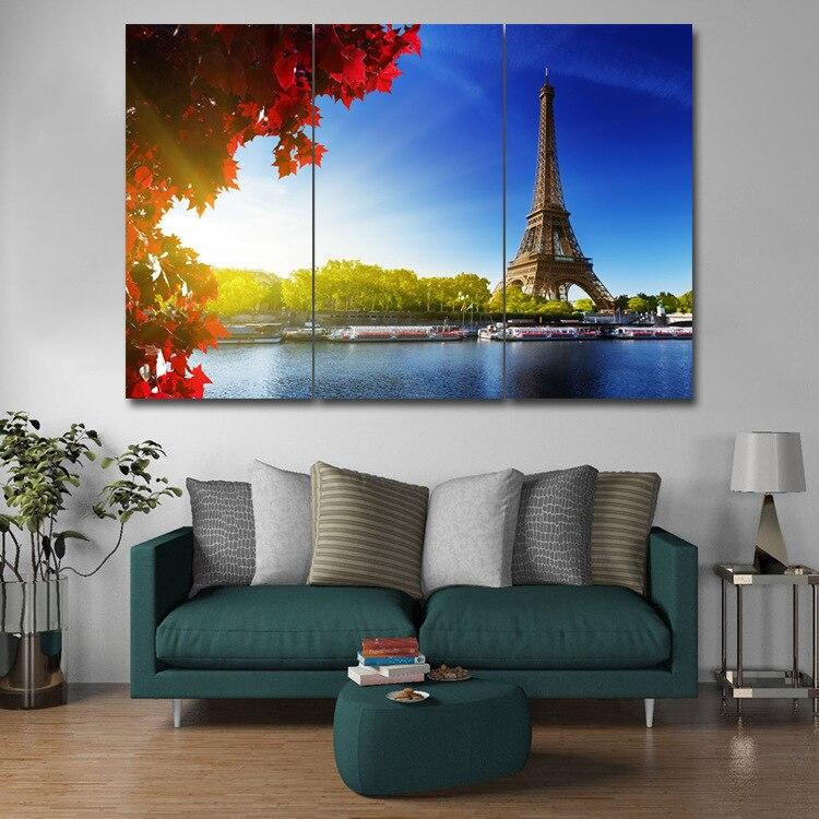 Тройная Картина на холсте, основная фреска, Безрамная живопись, Эйфелева башня, железная башня, для гостиной, спальни, декоративная