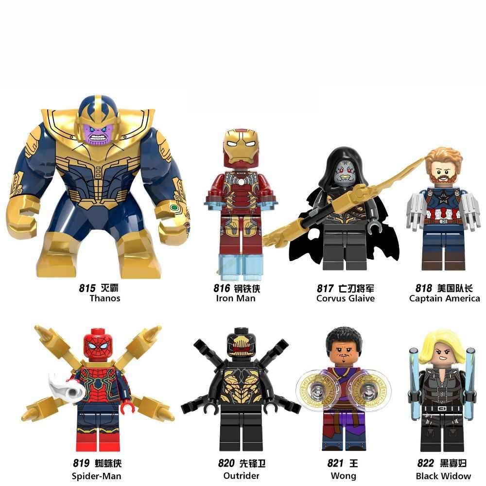 Vingadores Marvel Spiderman 3 Infinito Guerra Estrela Lorde Thanos Guardiões da Galáxia Aranha homem de ferro THOR Building Blocks Brinquedos Figuras