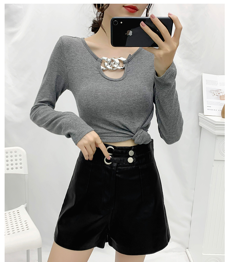 Spring Autumn New Women Slim T-Shirt 2020 Ladies Long Sleeve Short T-shirt Women Fashion Metal Button Decorative Base T-shirt
