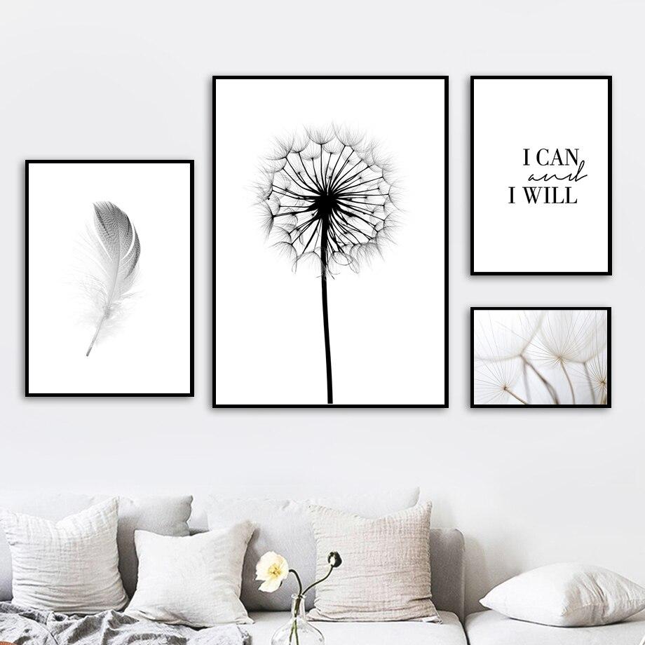 Pluma-diente-de-le-n-pared-arte-lienzo-pintura-cita-carteles-n-rdicos-e-impresiones-negro (1)