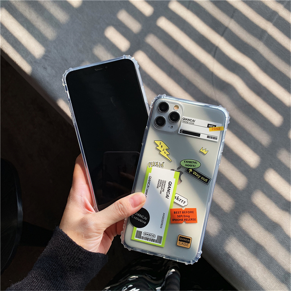 Hb7fb6794abf3458e9622830719184f33a - New Trend Transparent Anti-drop ticket label Code Case For iPhone 11 Pro XS Max XR X 6 6S 7 8 Plus Soft TPU Protecte Back Cover