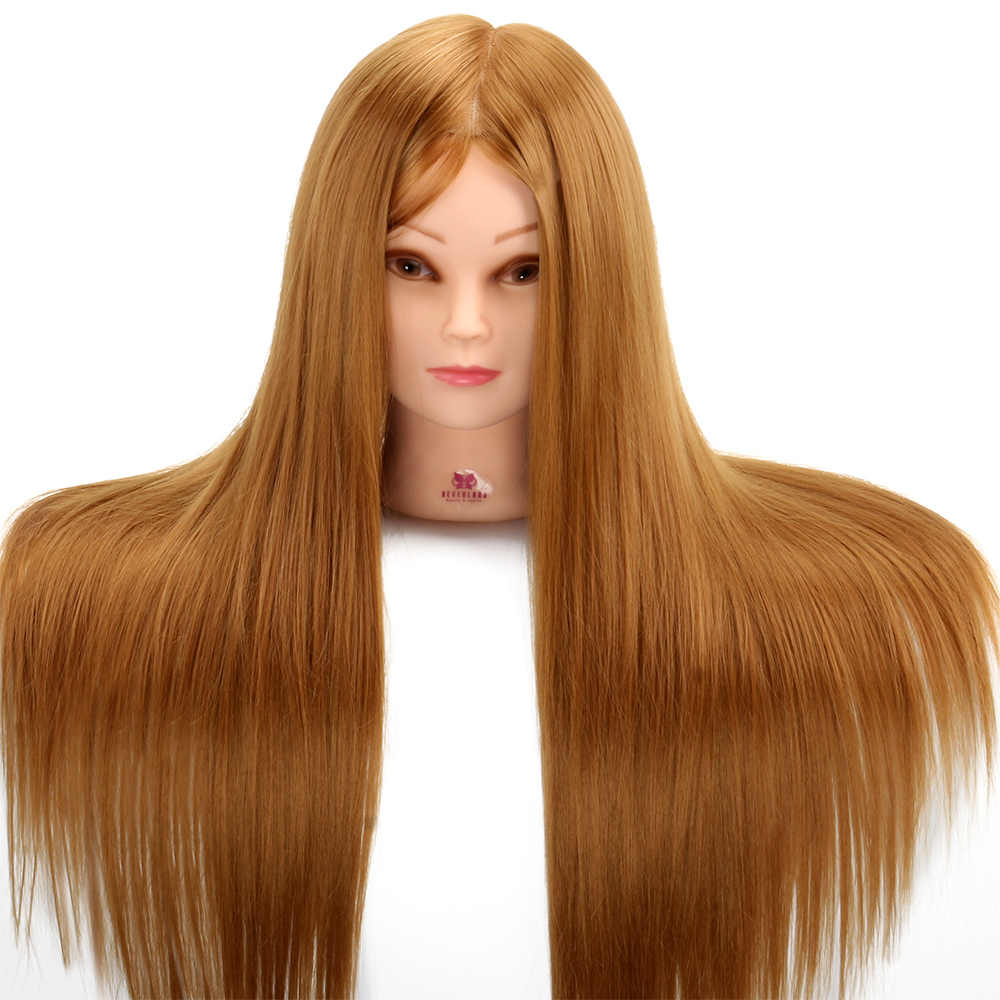 Cabeza de Maniquí de pelo 50% humano de 24 pulgadas con Set de estilismo, diadema de cuerda para cabello #27, cabeza de entrenamiento con herramienta para cabello