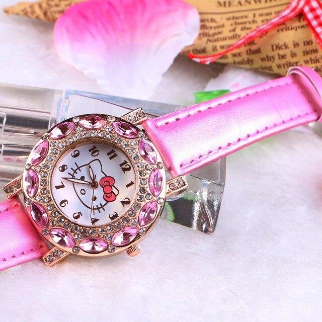 Kt gato crianças relógio de pulso de quartzo moda casual menina relógio crianças bonito pulseira de silicone atches linda 4
