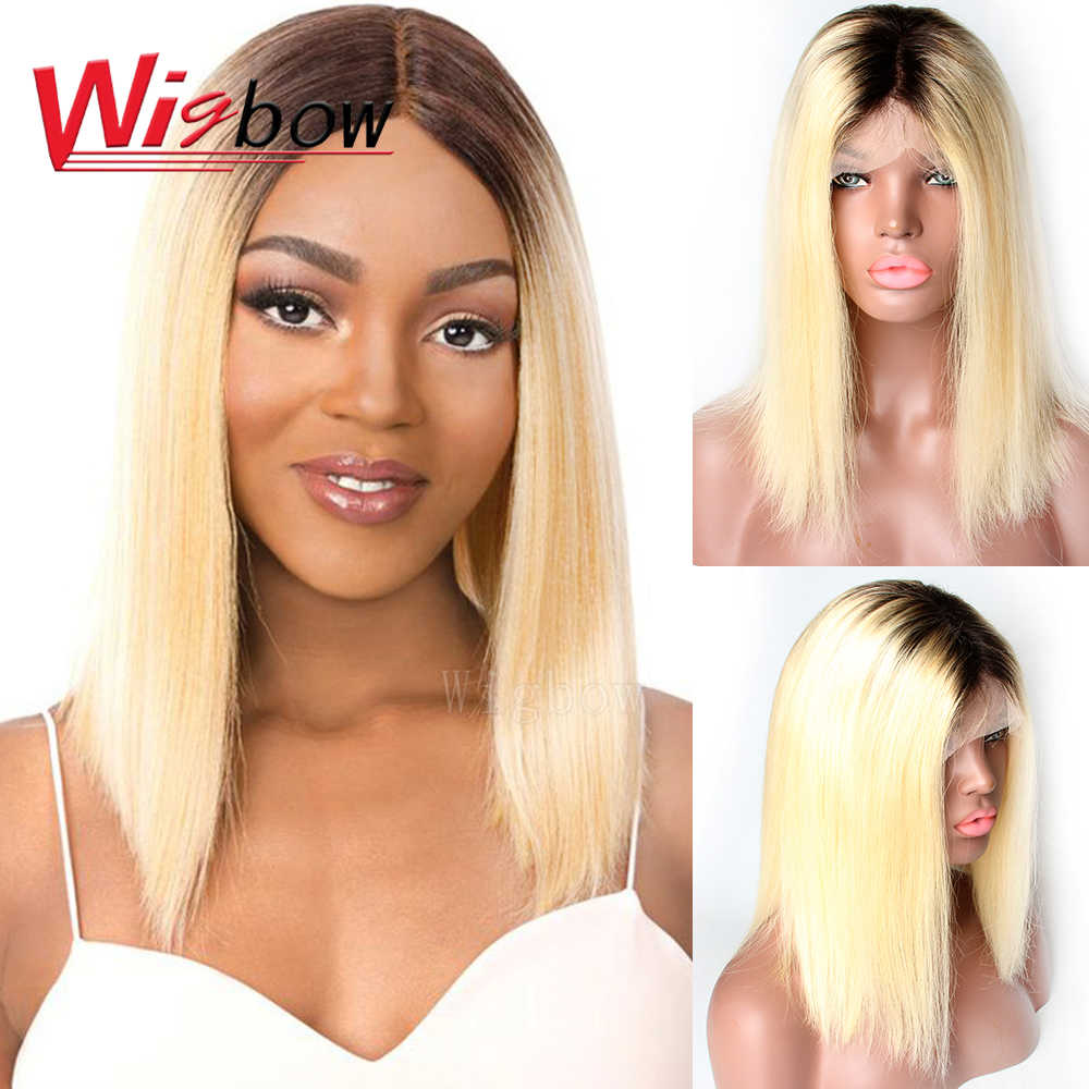 Indian 1B 613 lace front wig Straight Blonde Lace Wigs Pre Plucked Lace Front Human Hair Wig 10 12 14 16 Inch For Black Women