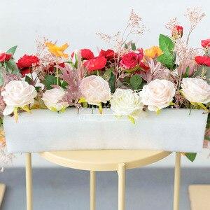Image 3 - Пользовательские свадебные арки Декор цветочный композиция стол цветочный шар центральные Цветочные Вечерние сцены на открытом воздухе компоновка цветка стены