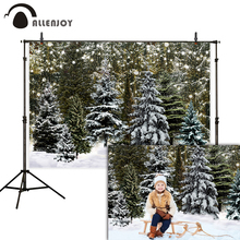 Allenjoy winter backdrop forest bokeh lights christmas party glitter photo background photography studio photozone photophone