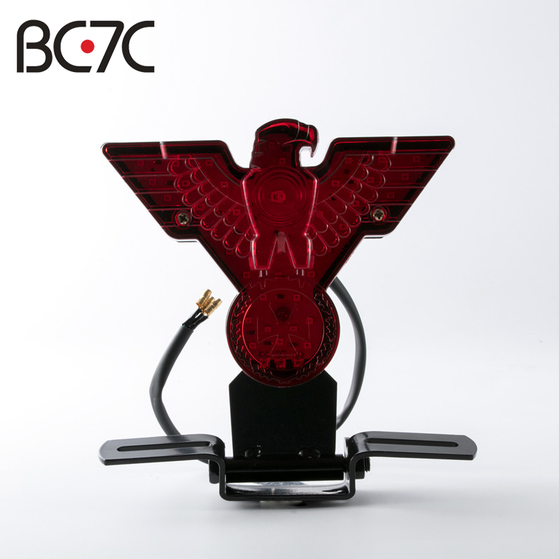 Motorcycle Retro WarBird Eagle License Plate Red Brake Tail Light For Harley Bobber Chopper