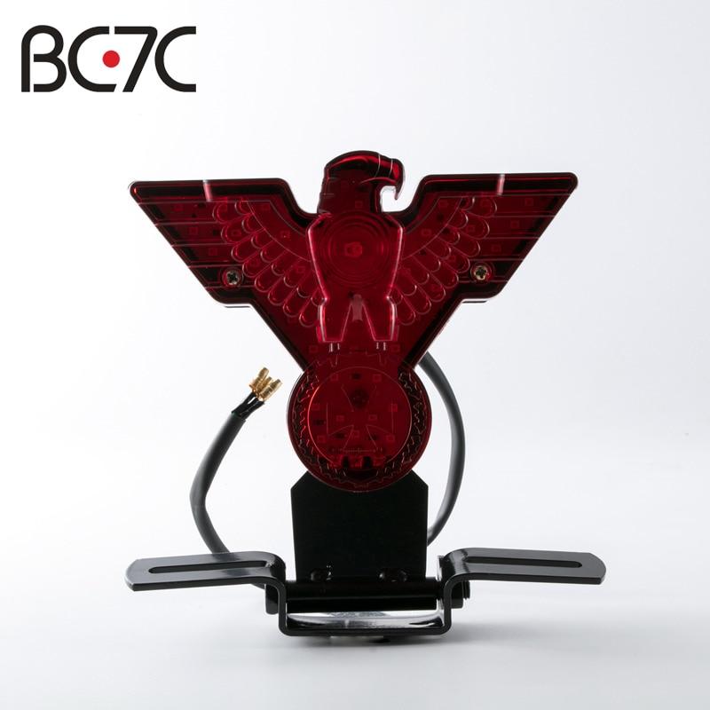 Motorcycle Retro WarBird Eagle License Plate Red Brake Tail Light For Harley Bobber Chopper
