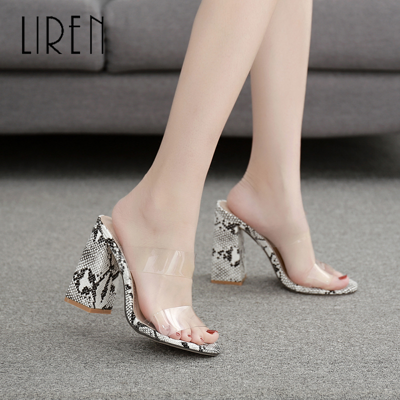 Liren 2019 Genuine Leather Snake Lady Sandals Casual Women Fashion Sexy PU Transparent Shoes Strap High Square Heels