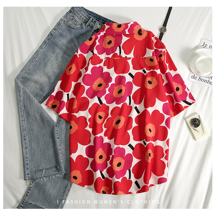 2020 Floral Shirts Women Flower Print Blouses Short Sleeve Black Oversized Shirt Womens Tops Blusas Feminine Blouse Summer Top