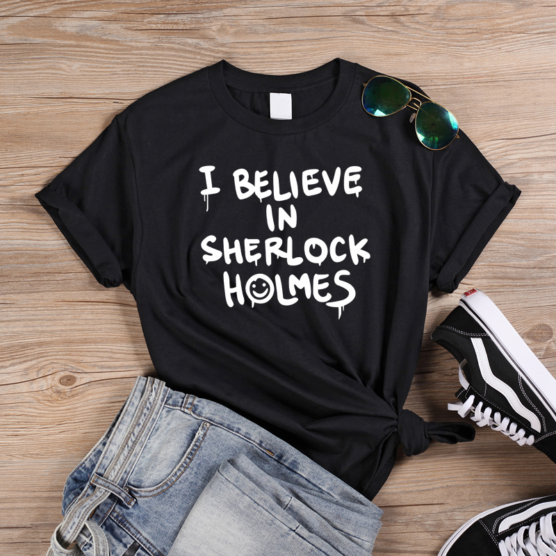 Punk Style Letters Printed T Shirts I Believe In Sherlock Holmes Letter T Shirt Female Harajuku Tees Halloween Tops