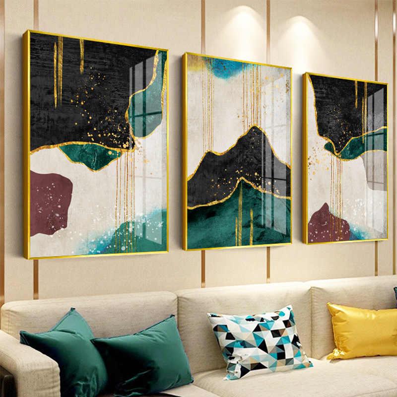 Geometri taş desen Nordic Poster akik duvar sanatı tuval yağlıboya posterler resimleri ev yatak odası dekorasyon baskılar çerçevesiz