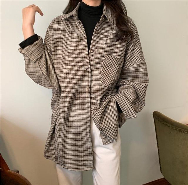 Flectit flanel boy gömlek uzun kollu yakalı erkek balıksırtı bluz güz kış kadın bluzlar ve gömlekleri *