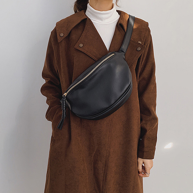 Fashion Women Waist Bag Fanny Pack Large Capacity Crossbody Chest Bags Banana Pack PU Leather Ladies Belt Bag Waist Pack