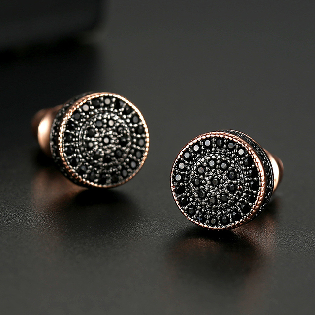 LUOTEEMI Elegant Small Round Stud Earrings for Women Dating AAA Black/White Cubic Zircon Three Color Fashion Jewelry Gift 3