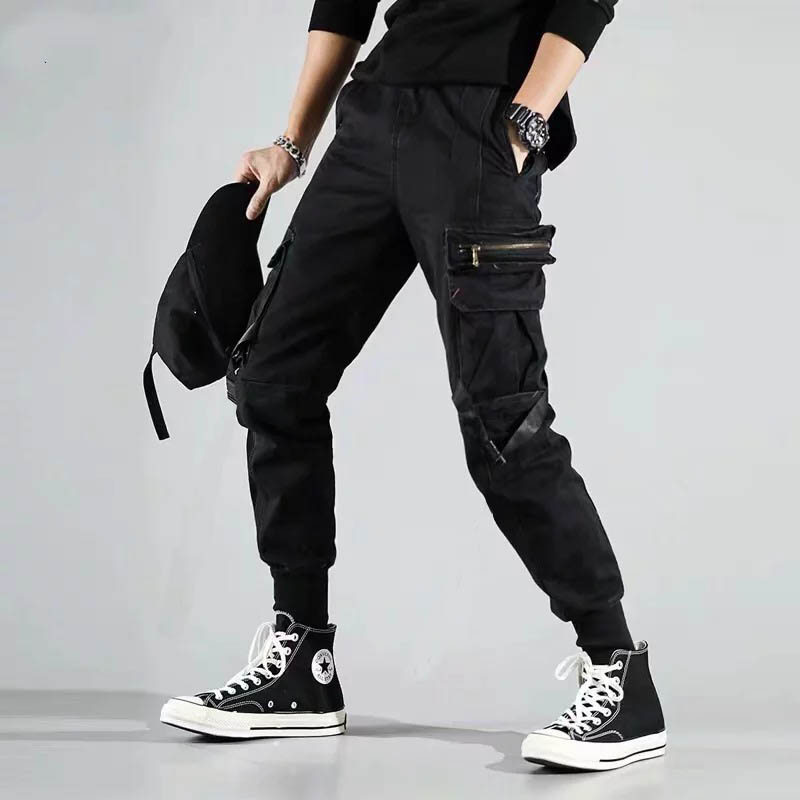 Streetwear Casual Joggers Men Cotton Slim Black Mens Sweatpants Trousers Ribbons Pockets Ankle-length Harem Pants Man