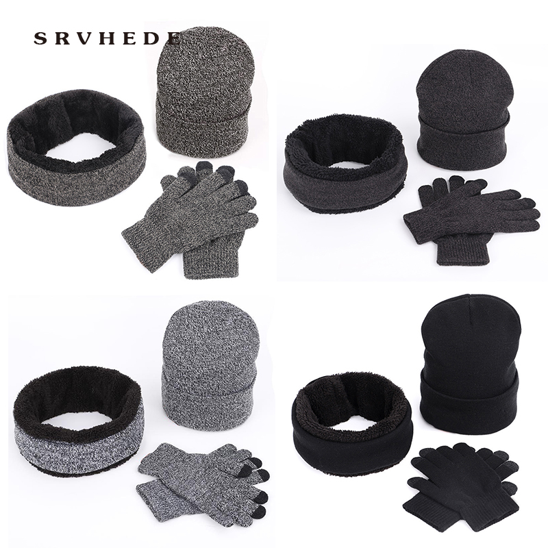 Thick Touch Screen Glove Winter Hat Scarf Gloves Set Beanies Ring Scarf Female For Girls Gift New Knitted  Female Hats Scarves