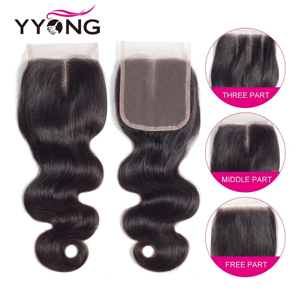 Yyong Hair 3 Bundles Brazilian Body Wave Bundles With Closure Remy 4Pcs/Lot Human Hair Weave Bundles With Lace Closure