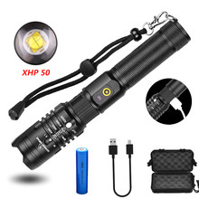 USB Charging Input and Output XHP50 Glare Flashlight Retractable Focusing Aluminum Alloy Material Waterproof Camping Light