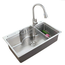 304 Stainless Steel Single Bowel Kitchen Sink Set 1.2mm Thickness Large Single Kitchen Sink Multifunctional Table Board 7848B-D