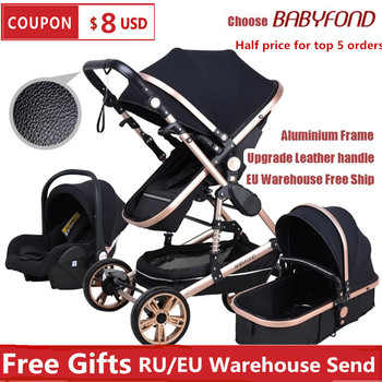 Babyfond High Landscape Baby Stroller 3 in 1 Carriage Multifunctional 2 in 1 Car Two Way Kid Pram With Baby Comfort For Newborn image