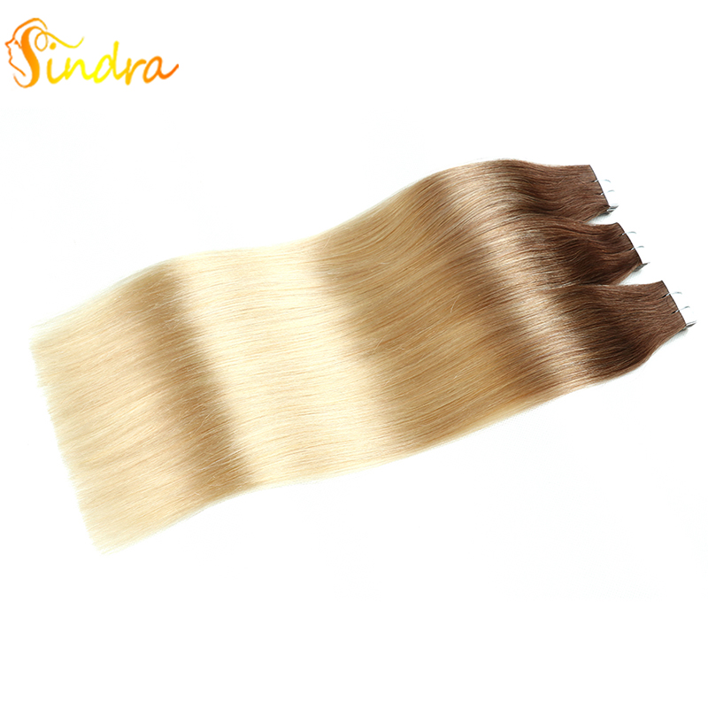 Sindra 14-24 Inch Tape In Human Hair Extensions 100% Real Brazilian Remy Hair Ombre Balayage Colored Hair 40pcs 20pcs