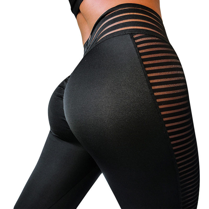 NORMOV Sexy Women Leggings Fitness Mid Waist Push Up Mesh Patchwork Ankle Length Polyester Leggin Solid Skinny Leggings