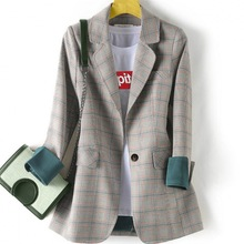 2020 casual checked women's blazer High quality fashionable loose jacket feminin