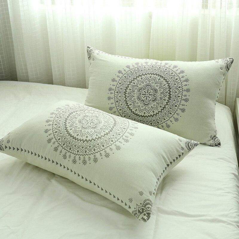 Комплект Junwell из 2 предметов, хлопковая муслиновая наволочка для дома отеля, постельное белье, Мягкая Наволочка, Подарочный дизайн для пар, 50x75 см|Наволочка|   | АлиЭкспресс