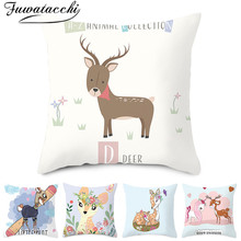 Fuwatacchi Cute Animal Pattern Cushion Covers Cartoon Style Pillows Cover Polyester Pillowcase for Home Sofa Decorative Pillow