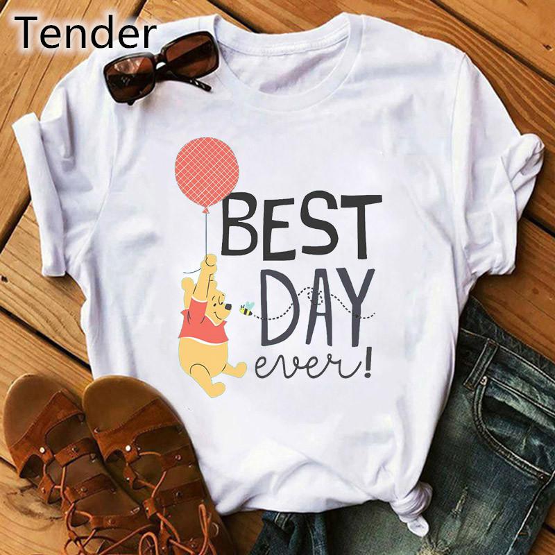 Cute Winnie-the-pooh Print Summer Cartoon Female Tshirt White Short Sleeve Tops & Tees Fashion Casual T Shirt Women Clothing