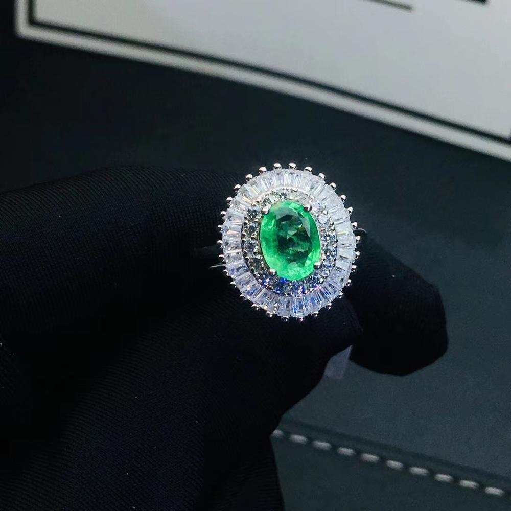 Mode vert émeraude anneau de pierres précieuses bijoux en argent bonne couleur véritable gemme naturelle brillante 6mm x 8mm taille fille cadeau de fête d'anniversaire