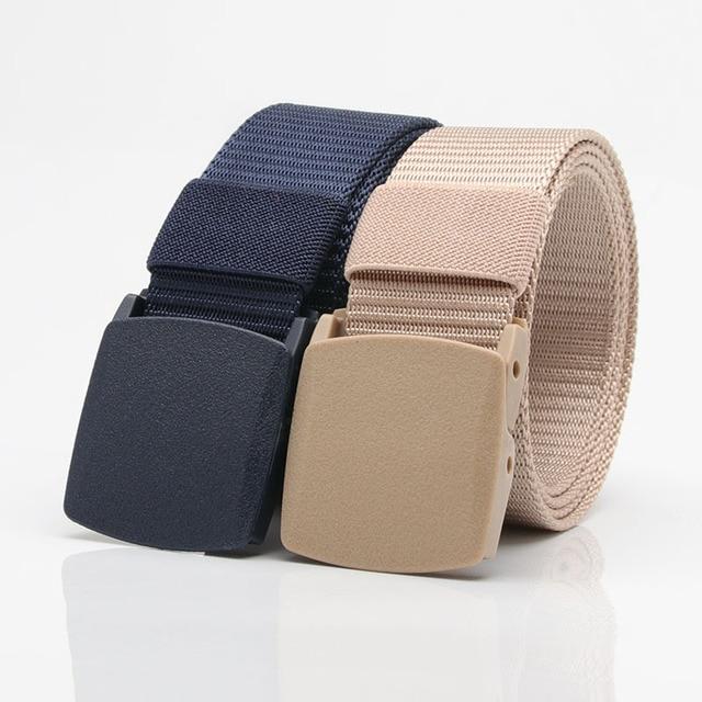 Outdoor Men's Nylon Belts Student Military Training Sports Tactics Breathable Plastic Automatic Buckle Canvas Belt Women 1