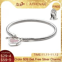 ATHENAIE 925 Sterling Silver Love Snake Chain Charms Bracelet & Bangle with CZ Lock of Heart Clasp Fit Women Wedding DIY Jewelry