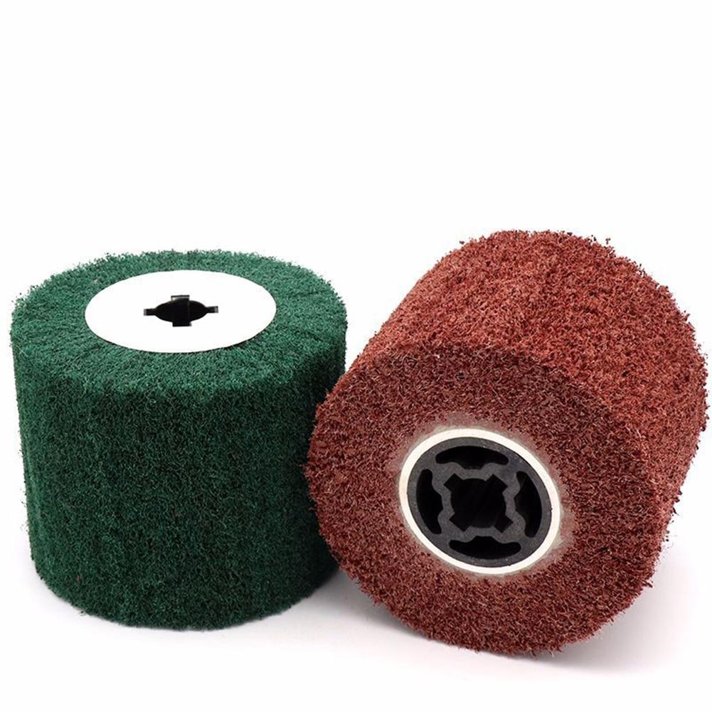 120*100*25mm cepillo de solapa de nailon no tejido dibujo satinado pulido rueda de tambor de desbarbado para acero inoxidable