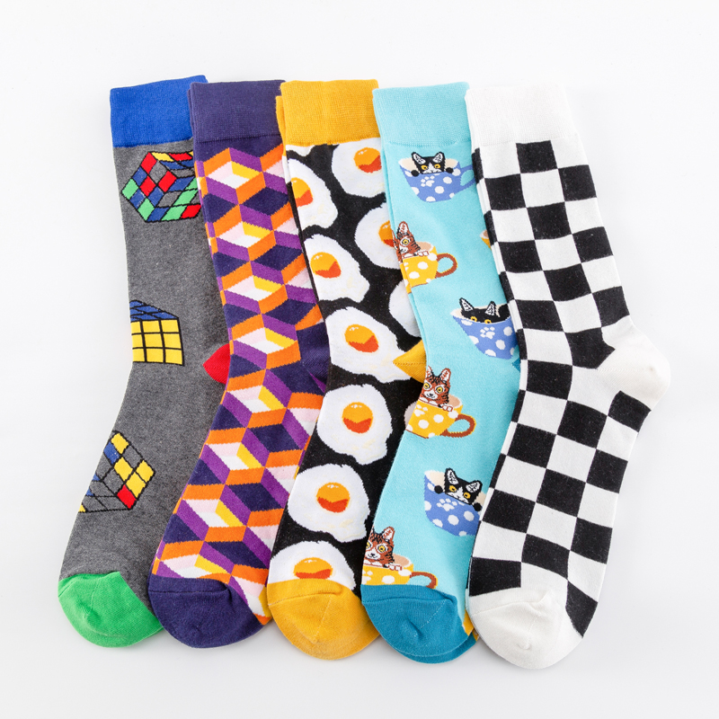 New 2019 Colorful Cotton Men's Long Socks Harajuku Hip Hop Funny Poached Egg  Magic Cube Cool Dress Socks For Male Wedding Gifts