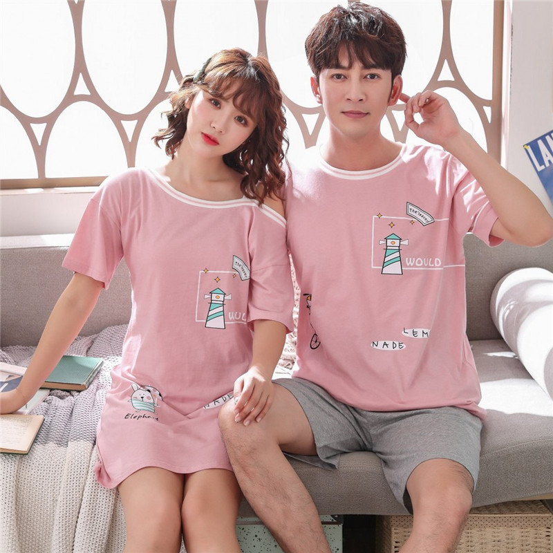 Couples Short Sleeve 100% Cotton Nightgowns For Women Summer Cute Cartoon Home Dress Sleepwear Night Dress Nightdress Men Pyjama