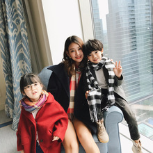 Autumn/winter Korean Version Of Childrens Warm Cashmere Scarf Classic Plaid Pure Color Contracted Wholesale FYR035