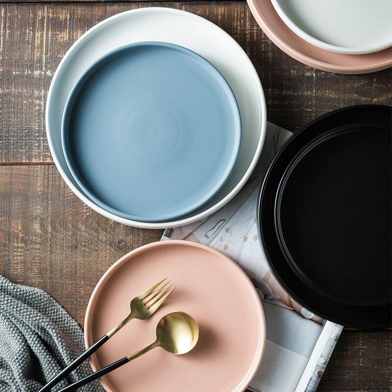Assiettes à dîner blanches De Style nordique en céramique porcelaine ensemble De vaisselle assiettes servant Restaurant Pratos De Jantar assiette à dîner EA60PZ