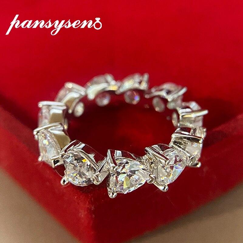 PANSYSEN nouvelle mode étincelles coeur laboratoire Moissanite diamant anneaux de mariage pour les femmes pur argent 925 Sterling Fine bague de bijoux