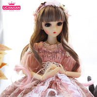 UCanaan 1/3 18 Ball Joints Doll 60CM BJD Dolls Palace Style With Full Outfits Wig Dress Shoes Makeup Toys For Girls Collection