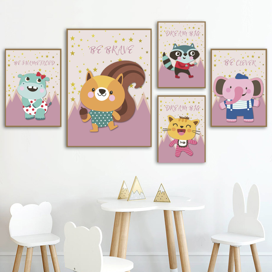 Zebra Hippo Raccoon Dog Lion Elephant Wall Art Print Canvas Painting Nordic Posters And Prints Wall Pictures For Kids Room Decor in Painting Calligraphy from Home Garden