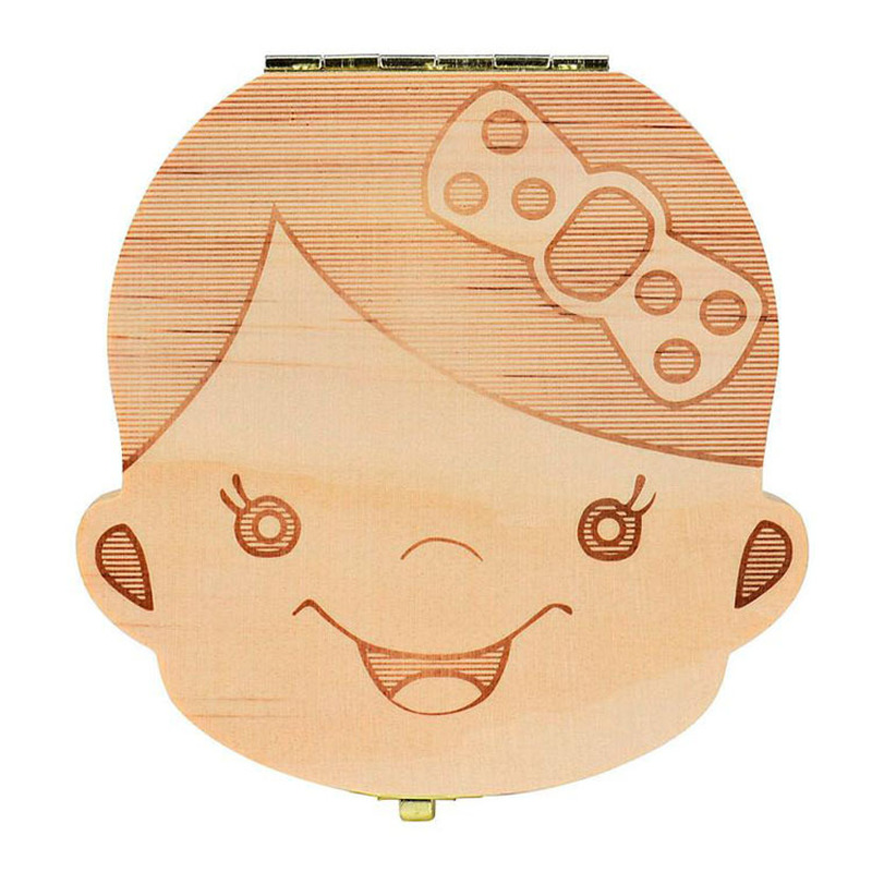 Girls And Boys Babies Multi Language Wooden Deciduous Baby Teeth Box 12.5*11.5cm Baby Teeth Collection Box Baby Souvenirs