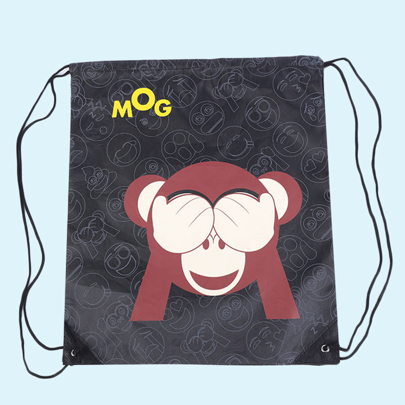 Outdoor Cute Expression Sports Shoulder Drawstring Clothing Storage Bag