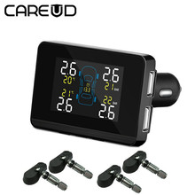 Careud Auto Auto Draadloze Tpms Tire Pressure Monitoring System Met 4 Sensoren Lcd Display Sigarettenaansteker Type Usb Interfaces