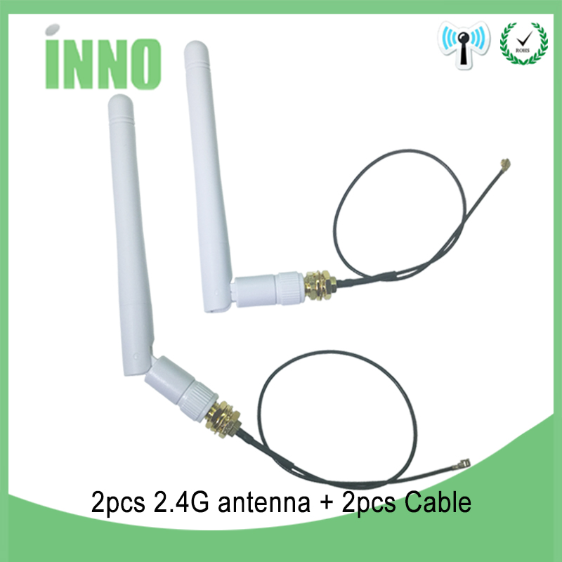 2pcs 2.4GHz Antenna Wifi RP-SMA Male Connector 3dBi Wi Fi 2.4 Ghz Antena 2.4 GHz + IPX To RP-SMA Male Extension Pigtail Cable