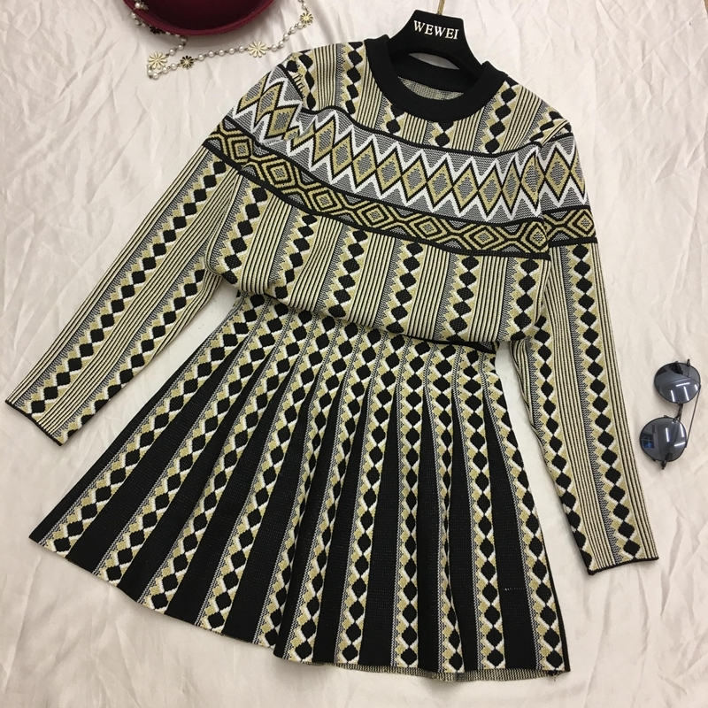 Women Vintage Knit Sweater Skirts Sets Geometric Printed Female Woman Knitting Clothing Suits