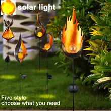Lampa LED zasilana energią słoneczną migotanie płomienia na pejzaż z ogrodem lampa ozdobna światło krajobrazu migotanie FlameLight holiday Halloween tanie tanio Junejour CN (pochodzenie) Ip44 1 2 v Żarówki led ART DECO Bateria litowa