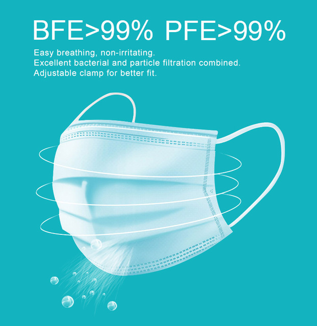 5-50 Pcs/Bag 3 Layer Non-woven Dust Mask Thickened Disposable Mouth Mask  Bacteria Proof Flu Face Masks